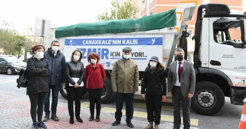 Çanakkale'den İzmir'e Yardımlar Gönderildi