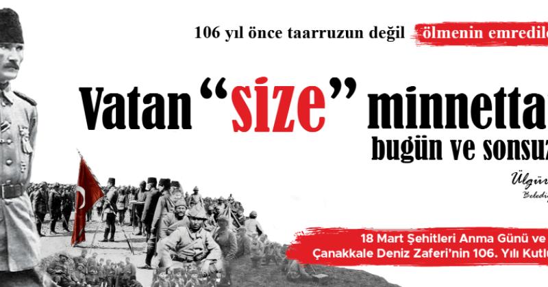 Belediye Başkanı Ülgür Gökhan'ın 18 Mart Şehitleri Anma Günü ve Çanakkale Deniz Zaferi'nin 106. Yıldönümü Konuşması